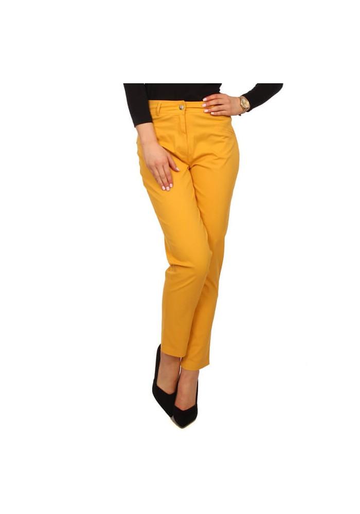 Spodnie damskie z paskiem musztardowe
