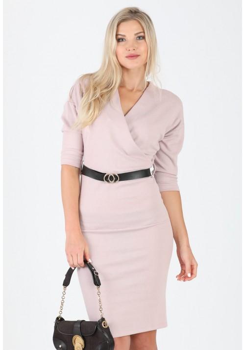 Fantastyczna ołówkowa zakładana sukienka pasek beżowy
