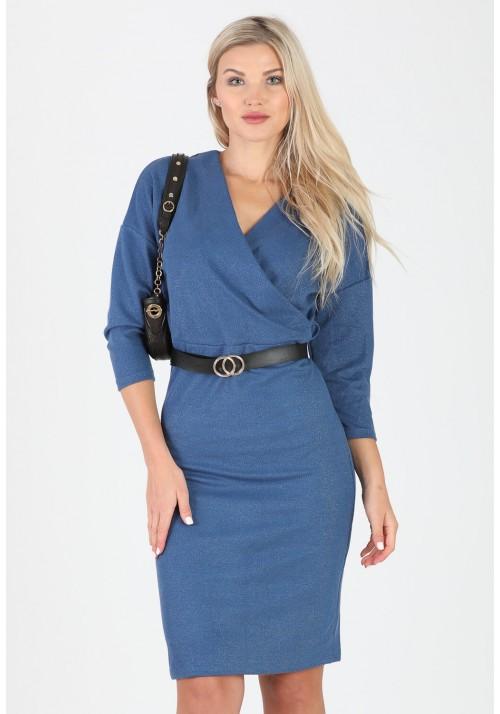 Fantastyczna ołówkowa zakładana sukienka pasek niebieski
