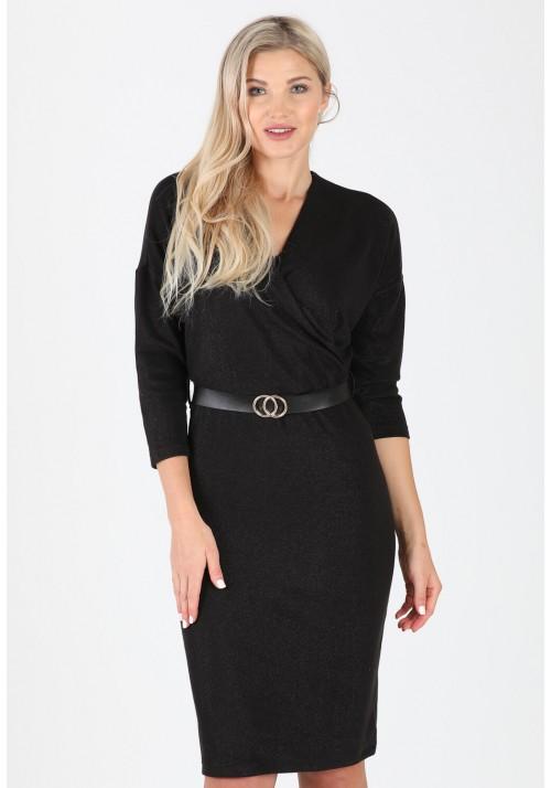 Fantastyczna ołówkowa zakładana sukienka pasek czarny