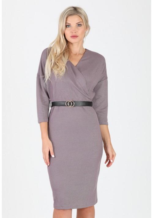 Fantastyczna ołówkowa zakładana sukienka pasek brązowy