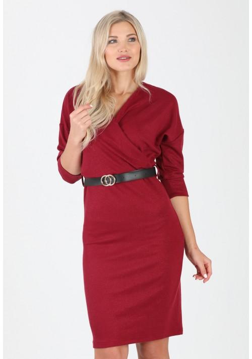 Fantastyczna ołówkowa zakładana sukienka pasek bordowy
