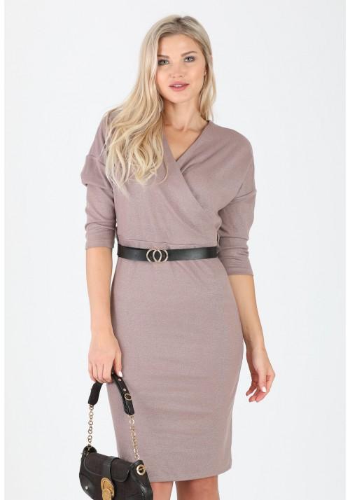 Fantastyczna ołówkowa zakładana sukienka pasek cappucino