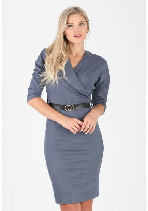 Fantastyczna ołówkowa zakładana sukienka pasek stalowy